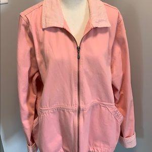 CJ Banks Pink Jacket, Size X, Striped Collar.
